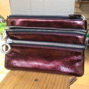 Brighton coin pouch zippers maroon patten leather